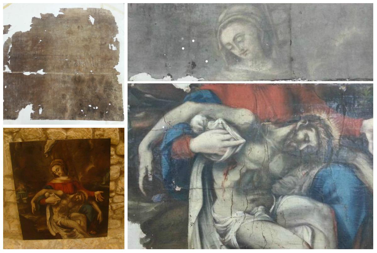 Pintura sobre tela. Iglesia de Las Pilas